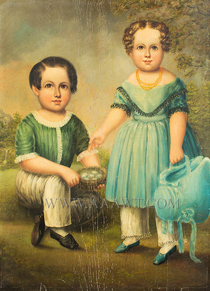 Folk Portrait, Siblings in Blue, Full Length  Anonymous  Circa 1830  Oil on Board, entire view