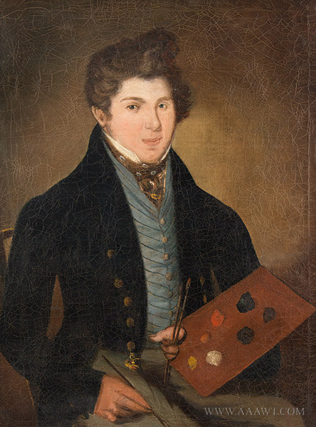 Antique Portrait of Artist with a Palette, American School, Circa 1820, close up view