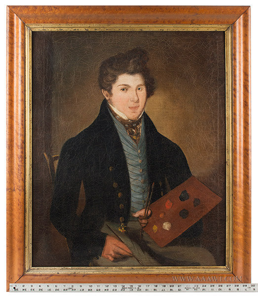 Antique Portrait of Artist with a Palette, American School, Circa 1820, ruler for scale