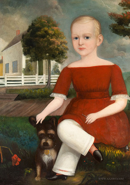 Antique Folk Portrait of a Boy and Dog Within Landscape, 19th Century, close up view