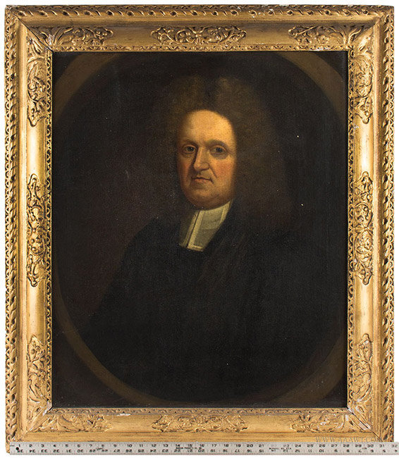Antique Oil on Canvas Portrait of an Englishman, Circa 1700, with ruler for scale