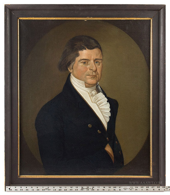 Antique Portrait of a Gentleman, By William Jennys, Oil on Canvas, with ruler for scale