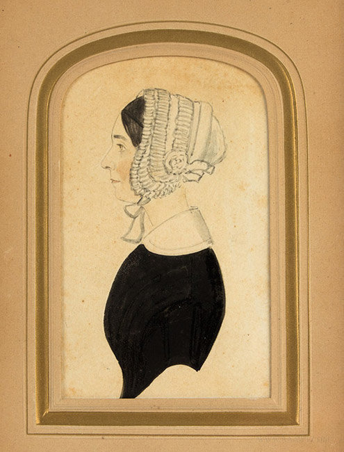 Antique Watercolor Portrait Profile of a Woman, by a Justus Dalee Family Member, 19th Century, close up view