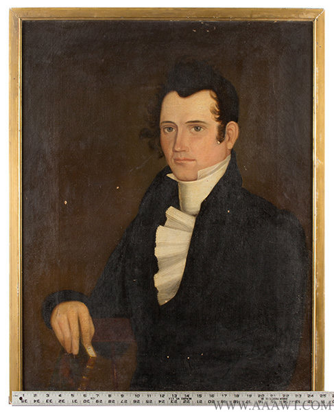 Portrait, Simon Adams (1796 to 1847), American School Anonymous, Early 19th Century, scale view