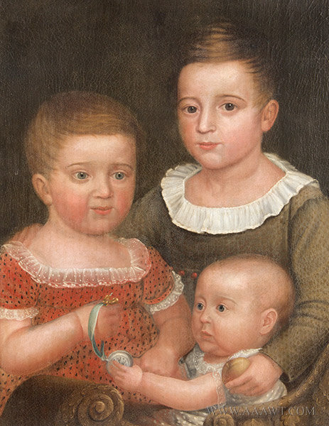 Triple Portrait, Three Siblings, the Kendall Children, Sterling, Massachusetts