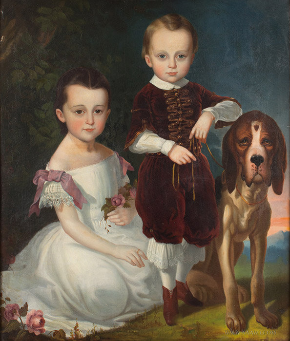 Antique American Portrait of Siblings with Hound, Signed F.E. Cohen, 19th Century, close up view