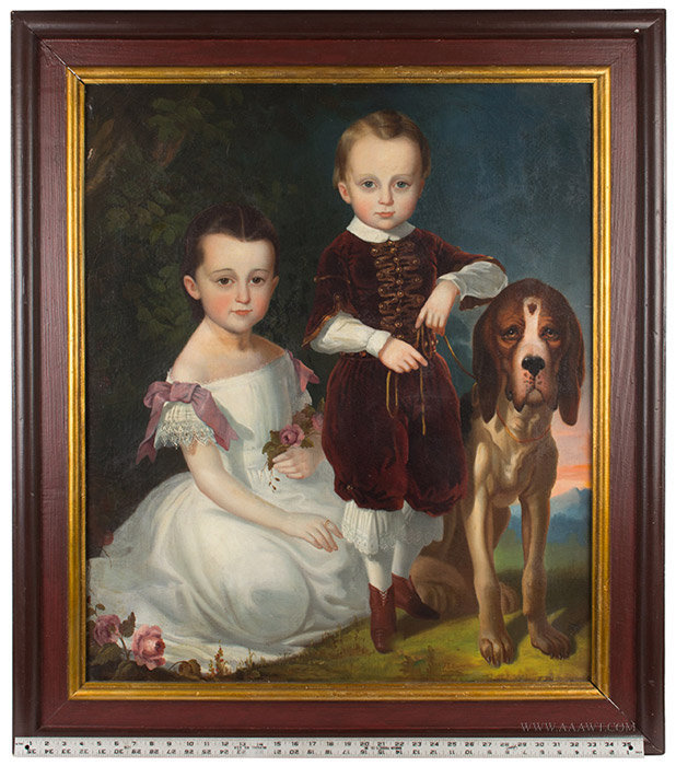 Antique American Portrait of Siblings with Hound, Signed F.E. Cohen, 19th Century, with ruler for scale