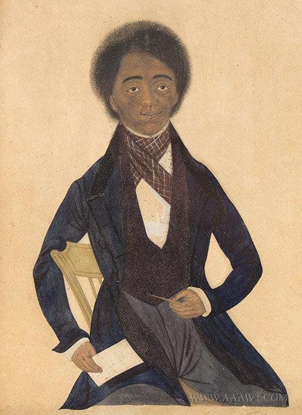 Antique Watercolor Portrait of a Black Gentleman, 19th Century, close up view