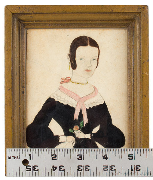 Portrait, Feminine Lady by Jane Anthony Davis (1821 to 1855), J.A. Davis, entire view