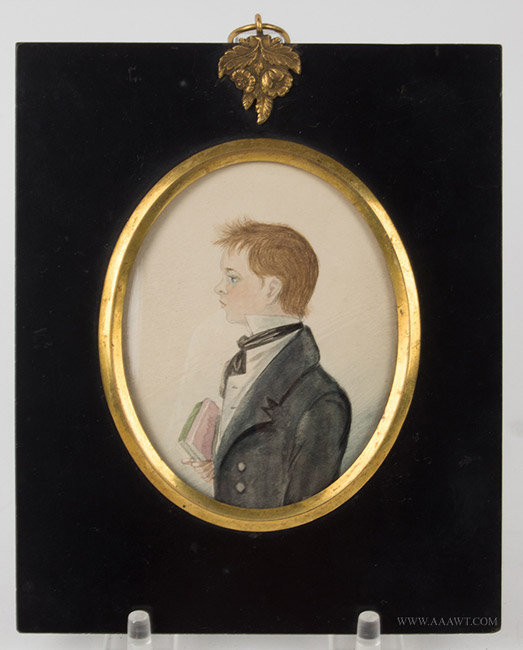 Antique Folk Portrait of Boy with Book, 19th Century, entire view