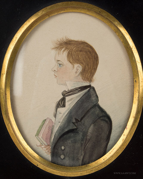 Antique Folk Portrait of Boy with Book, 19th Century, close up view