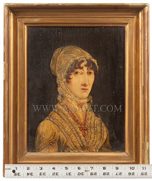 Portrait of Woman in Lace Bonnet and Fichu England 18th Century, scale view