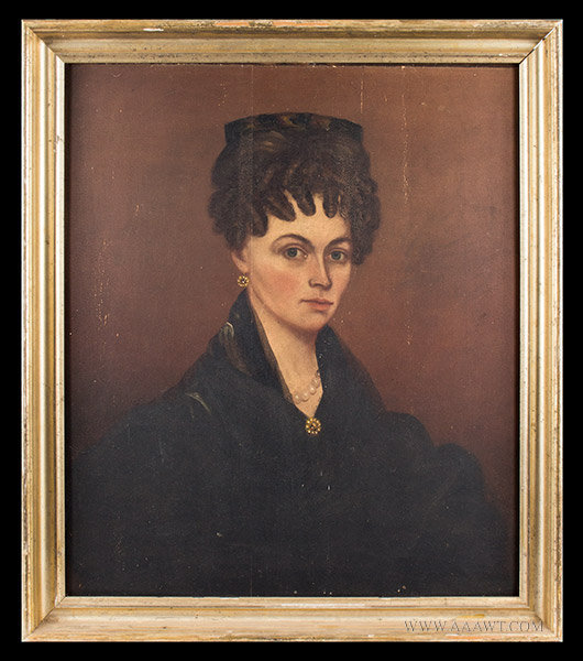 Folk Art Portrait of Woman with a Tortoise Shell Comb, Circa 1830's, entire view