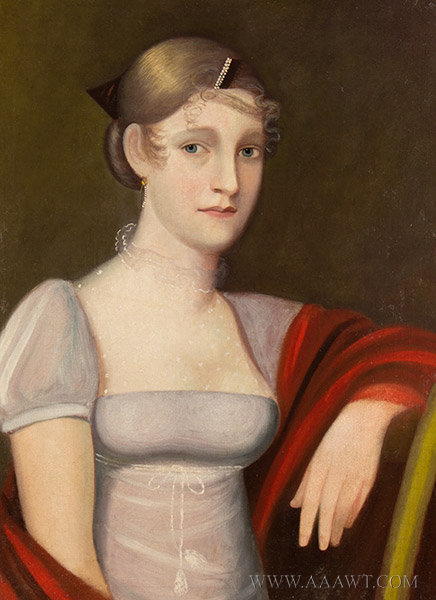 Antique Half Length Portrait of Young Woman, By Ammi Phillips, Circa 1815 to 1820, close up view