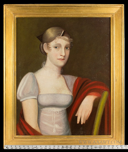 Antique Half Length Portrait of Young Woman, By Ammi Phillips, Circa 1815 to 1820, with ruler for scale