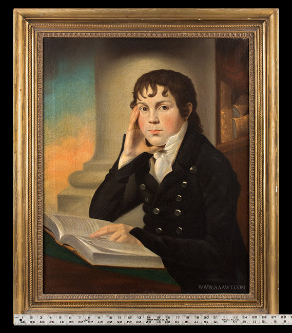 Antique Portrait of a Young Boy Reading, American School, Dated 1804, with ruler for scale