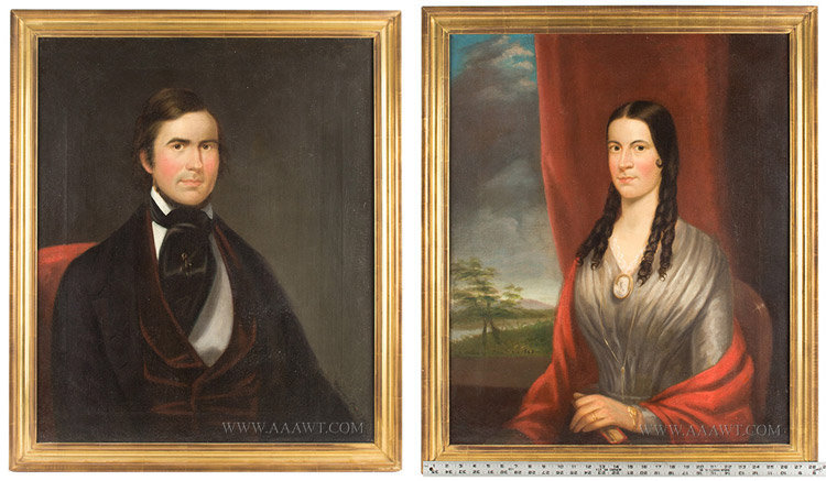 Portraits, Pair of Folk Art Paintings, Haven and Elizabeth Sargent, I.A. Wetherby Isaac Augustus Wetherby (1819 to 1904), scale view