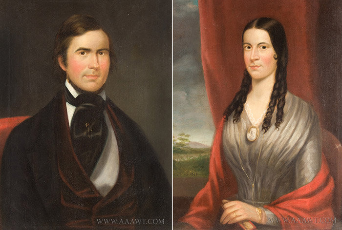Portraits, Pair of Folk Art Paintings, Haven and Elizabeth Sargent, I.A. Wetherby Isaac Augustus Wetherby (1819 to 1904), entire view