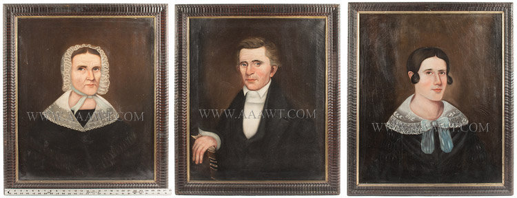 Portraits, Folk Art, Reat Family, Ohio, Lot of Three, Original Frames Sala Bosworth, Itinerant Portrait Artist along Ohio River (1805 to 1890) Circa 1845 to 1850, scale view