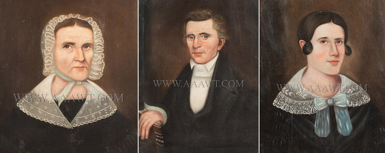 Portraits, Folk Art, Reat Family, Ohio, Lot of Three, Original Frames Sala Bosworth, Itinerant Portrait Artist along Ohio River (1805 to 1890) Circa 1845 to 1850, entire view