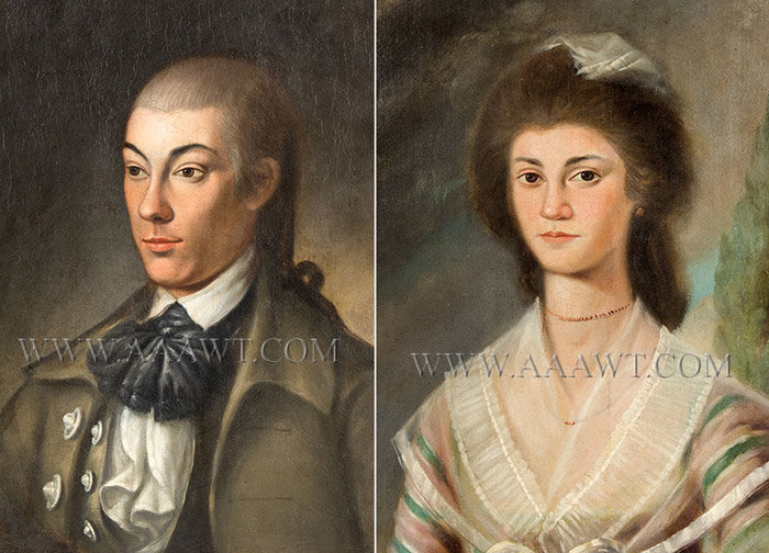 Antique Pair of 18th Century Portraits, by S. Jennings, close up views