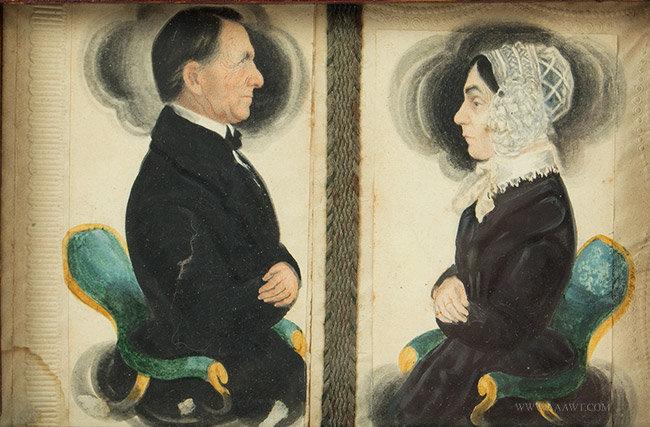 Antique Miniature Watercolor Profile Portraits of Samuel and Fannie Parker, by James Sanford Ellsworth, close up view