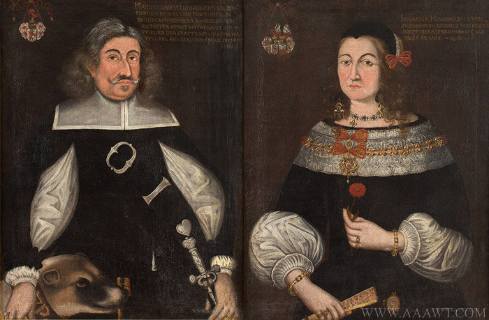 Antique Pair of 17th Century Marriage Portraits, Johanna and Maximilian Von Sigershoven, Likely Austro-German, close up views