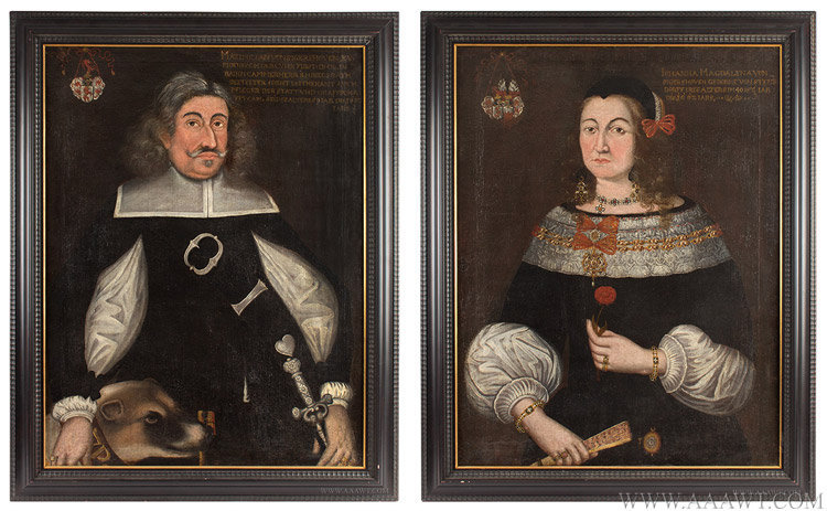 Antique Pair of 17th Century Marriage Portraits, Johanna and Maximilian Von Sigershoven, Likely Austro-German, entire views