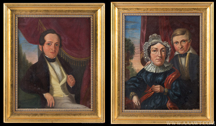 Antique Pair of 19th Century Portraits of Grandparents and Their Son, pair view
