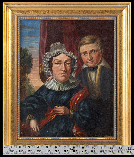 Antique Pair of 19th Century Portraits of Grandparents and Their Son, with ruler for scale