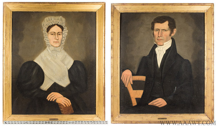 Erastus Salisbury Field (1805 to 1900), Pair of Folk Art Portraits, Man and Woman New England, Circa 1830's, entire view