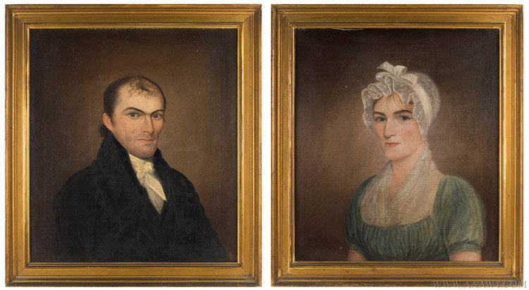 Antique Pair of Federal Portraits of a Man and Woman, American School, Early 19th Century, pair view
