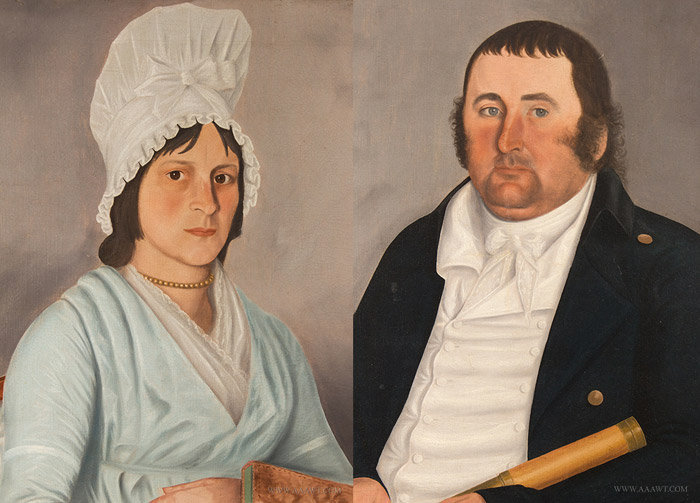 Antique Pair of Portraits of Captain Lewis and his Wife, by John Brewster Jr., Circa 1800, close up view