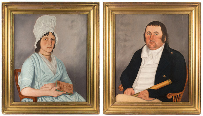 Antique Pair of Portraits of Captain Lewis and his Wife, by John Brewster Jr., Circa 1800, pair view