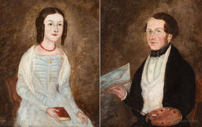 Portraits, Pair, Newton Benning and Wife, Baltimore, Maryland  Signed, Newton Benning & Wife, painter Of Pictures, 1856, Baltimore, US, entire view