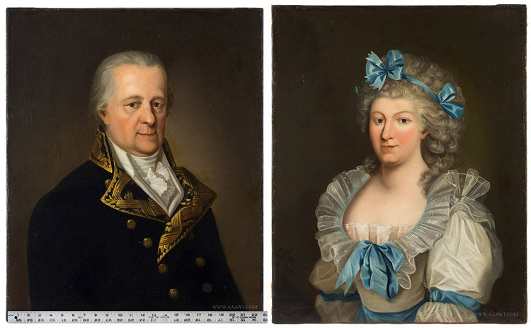 Antique Pair of Portraits of an Elegant Couple, Anonymous, 18th Century, entire and with ruler for scale