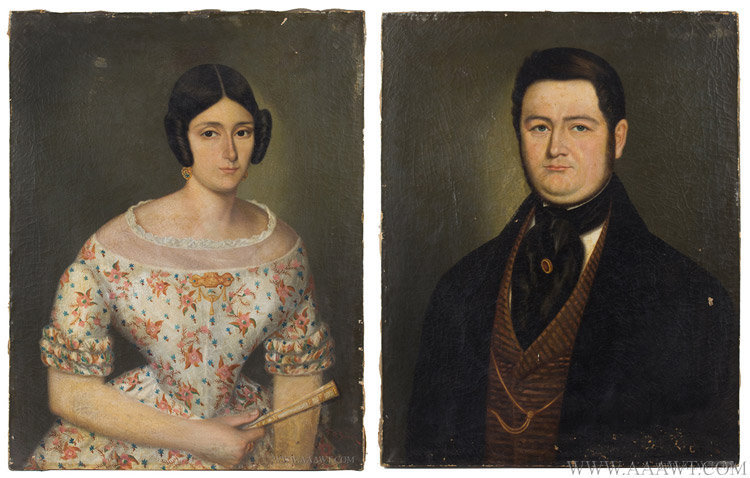Antique Pair of Early 19th Century Portraits, Lady and Gentleman, pair view