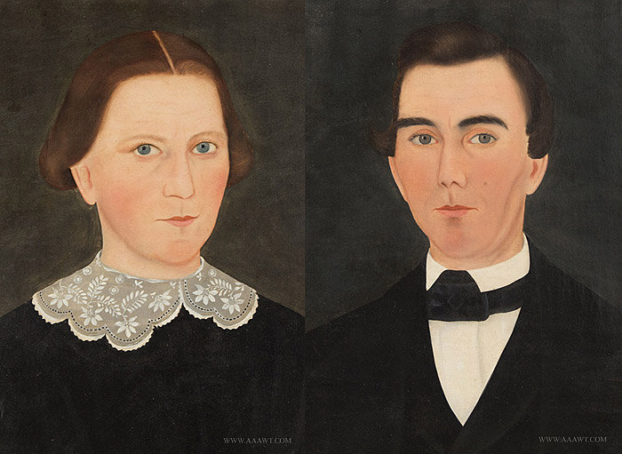 Antique Pair of Portraits of a Woman and Man, By John James Trumbull Arnold, close up pair view
