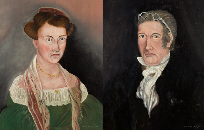 Antique Pair of Portraits on Panel, By Ashael Powers, Daniel Griswold and his daughter Louisa, close up view