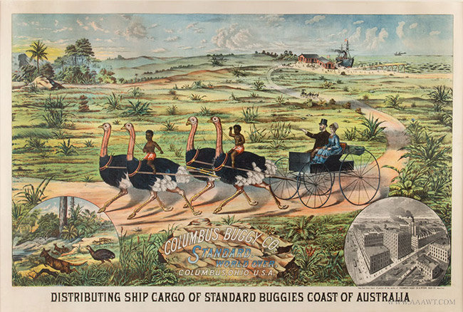 Antique Columbus Buggy Company Advertising Poster, Distributing Ship Cargo, 1880, close up view