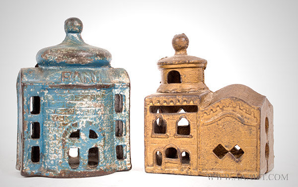 Antique Banks, Still Banks, Cast Iron, Presto, Mosque, group view