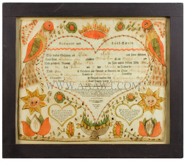 Antique Heart Taufschein Print, Fraktur, Hand Colored, Pennsylvania, entire view