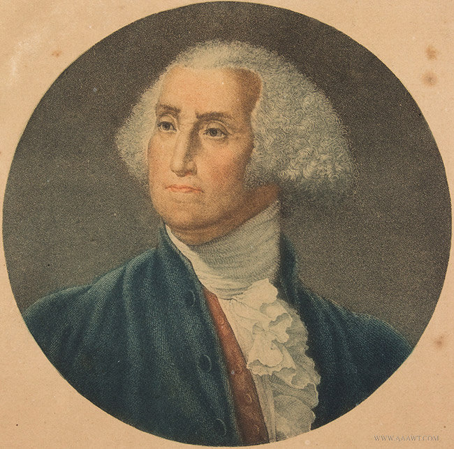 Antique Engraving of George Washington, French, Late 18th Century, close up view