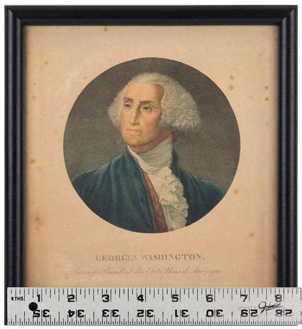 Antique Engraving of George Washington, French, Late 18th Century, with ruler for scale