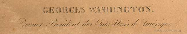 Antique Engraving of George Washington, French, Late 18th Century, title detail