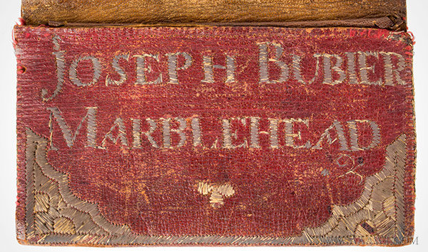 Antique Leather Pocketbook, 18th Century, Red Leather, name detail