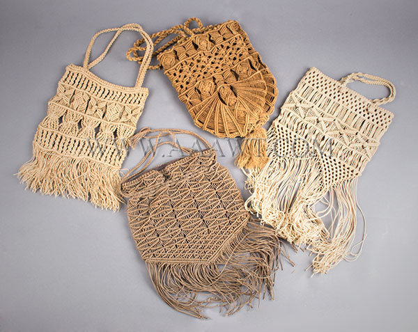 Antique Sailor Knotwork Purses, Lot of Four, Late 19th Century, group view