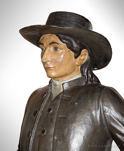 Papier Mache Figure of a Quaker Man, Likely a Tobacconist Figure, Late 19th Century, head detail