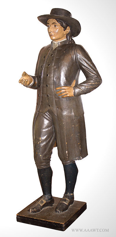 Papier Mache Figure of a Quaker Man, Likely a Tobacconist Figure, Late 19th Century, angle view