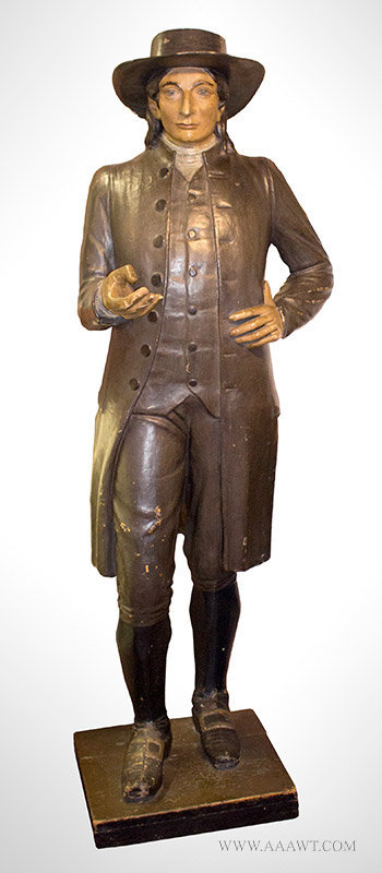 Papier Mache Figure of a Quaker Man, Likely a Tobacconist Figure, Late 19th Century, entire view